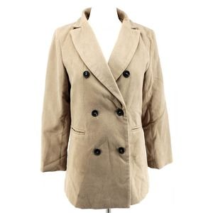 Shein Womens Suit Jacket Brown Pockets Long Sleeve